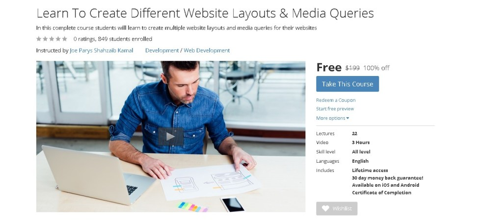 Free Udemy Course on Learn To Create Different Website Layouts & Media Queries 1