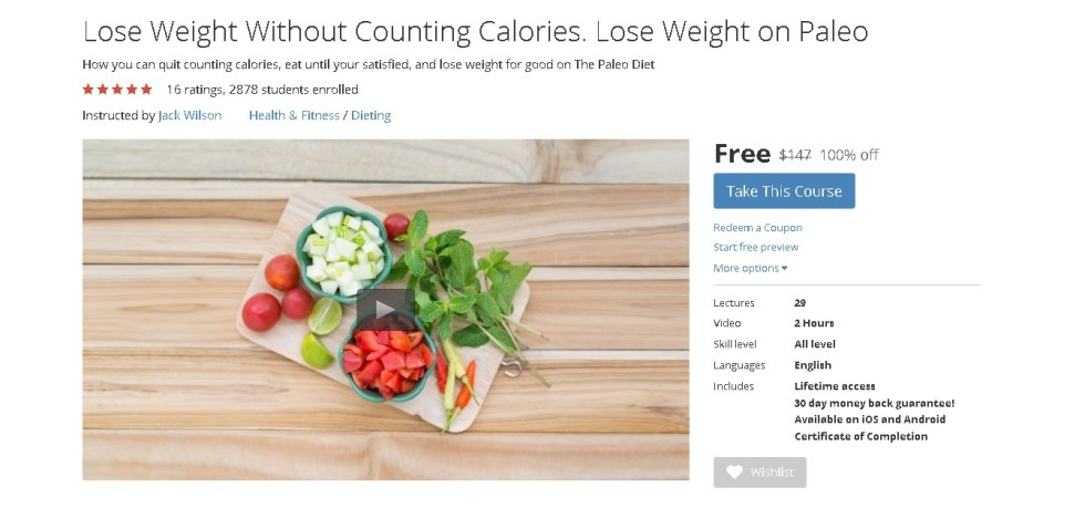 Free Udemy Course on Lose Weight Without Counting Calories. Lose Weight on Paleo