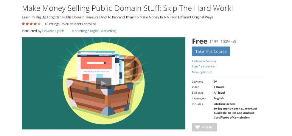 Free Udemy Course on Make Money Selling Public Domain Stuff Skip The Hard Work