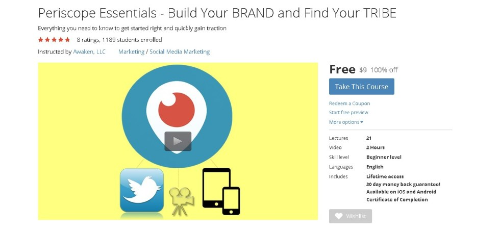 Free Udemy Course on Periscope Essentials - Build Your BRAND and Find Your TRIBE
