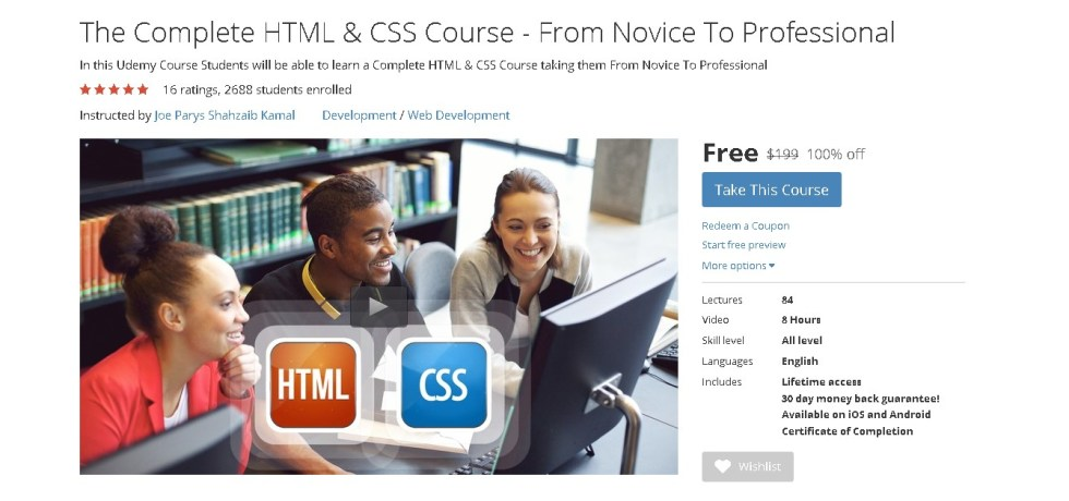 Free Udemy Course on The Complete HTML & CSS Course - From Novice To Professional