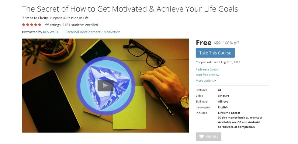 Free Udemy Course on The Secret of How to Get Motivated & Achieve Your Life Goals