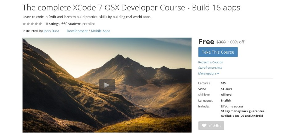 Free Udemy Course on The complete XCode 7 OSX Developer Course - Build 16 apps  1