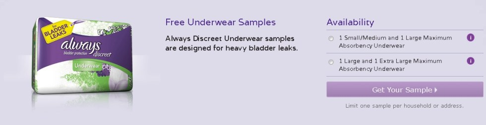 Free Underwear Samples at Always Discreet USA