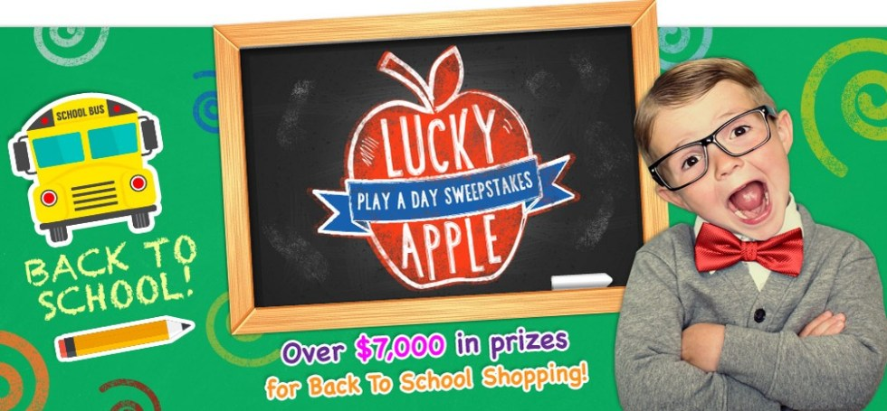 Lucky Apple Play A Day Sweepstakes Win a $2,500 back to school shopping spree