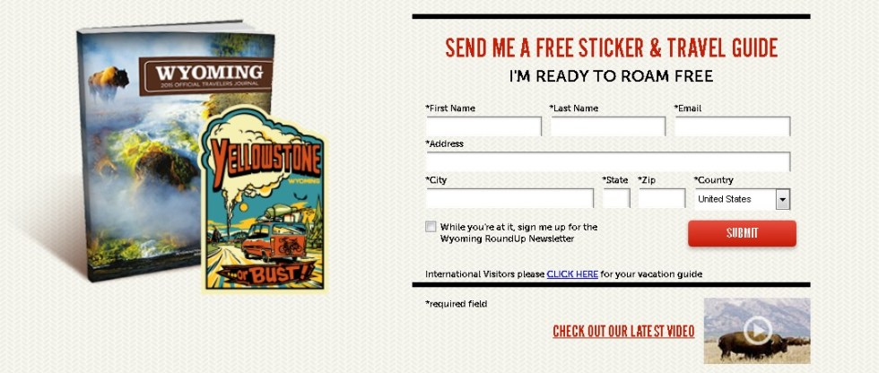 Send Me A Free Wyoming Sticker & Travel Guide