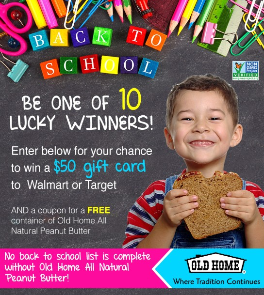 WIN $50 Gift Card to Walmart or Target at Old Home All Natural Peanut Butter