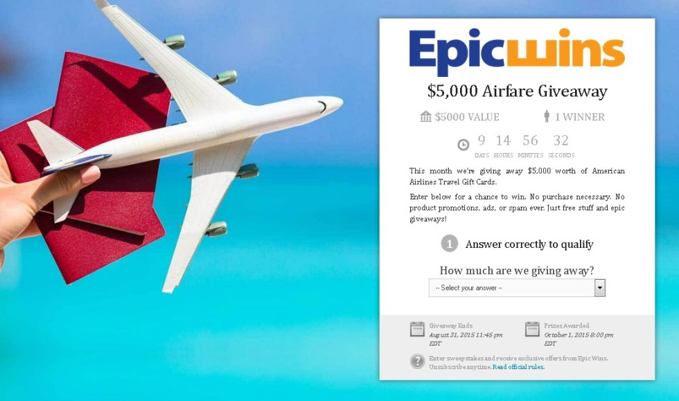 WIN $5,000 worth of American Airlines Travel Gift Cards at EPIC Wins USA FORM