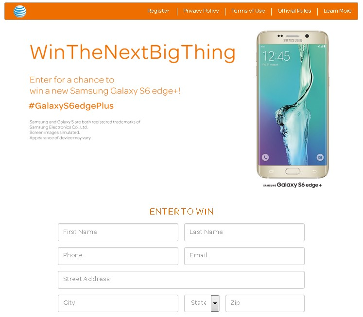 WIN Samsung Galaxy S6 Edge+ at AT&T Giveaway FORM
