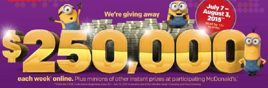 WRAL Giveaway 4-pack of Minions movie tickets and McDonalds coupons!