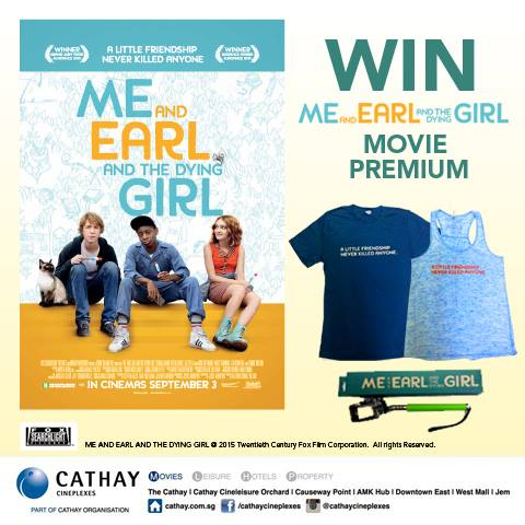 Win ME AND EARL AND THE DYING GIRL movie premiums at Cathay Cineplexes Singapore