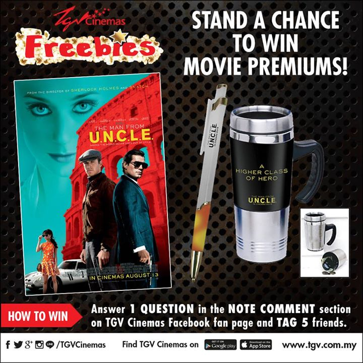 Win The Man From U.N.C.L.E movie premiums at TGV Cinemas
