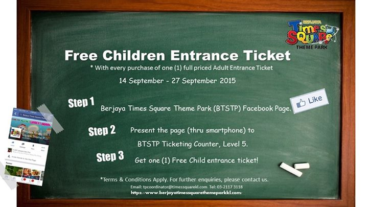 Children can experience endless joy for FREE in this school holidays at Berjaya Times Square Theme Park Malaysia