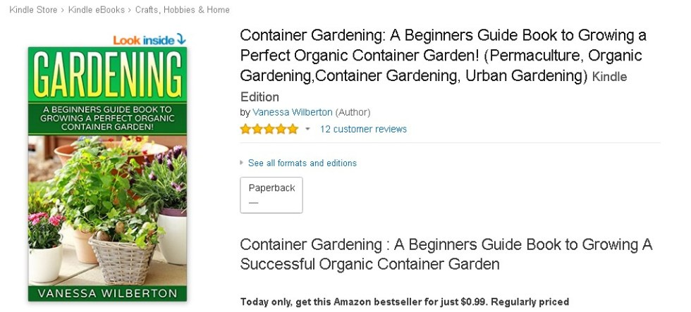FREE @ Amazon Container Gardening A Beginners Guide Book to Growing a Perfect Organic Container Garden! (Permaculture, Organic Gardening,Container Gardening, Urban Gardening) 1