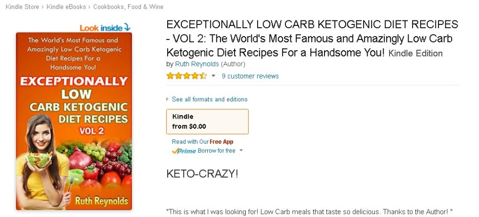 FREE @ Amazon EXCEPTIONALLY LOW CARB KETOGENIC DIET RECIPES - VOL 2 The World's Most Famous and Amazingly Low Carb Ketogenic Diet Recipes For a Handsome You!