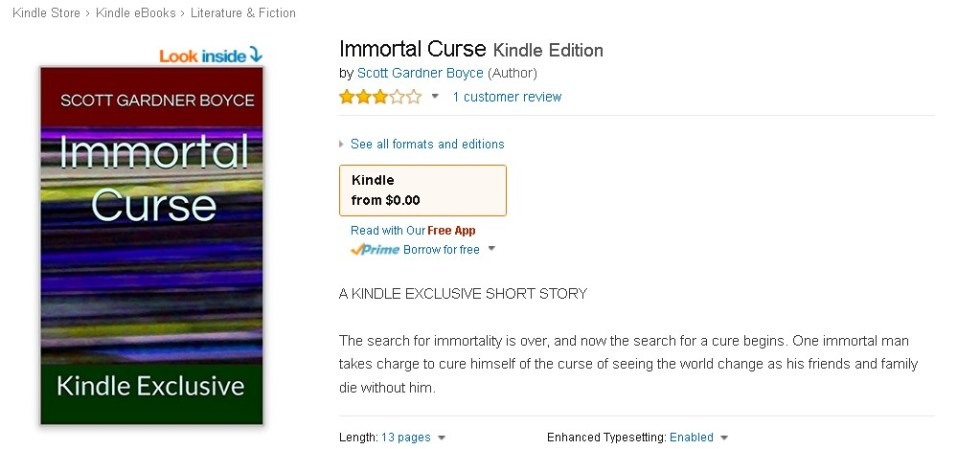 FREE Immortal Curse Kindle Edition at Amazon