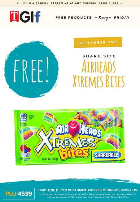 FREE Share Size Airheads Xtremes Bites at Tedeschi Food