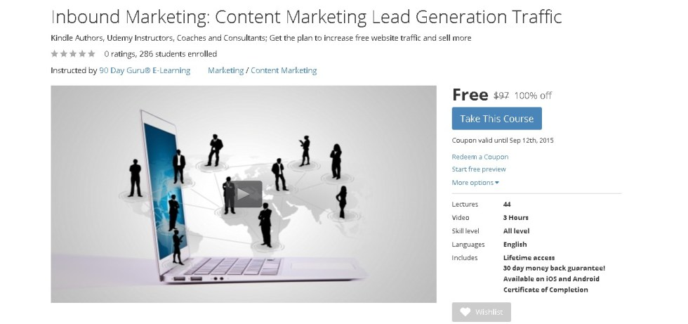 FREE Udemy Course at Inbound Marketing Content Marketing Lead Generation Traffic  1