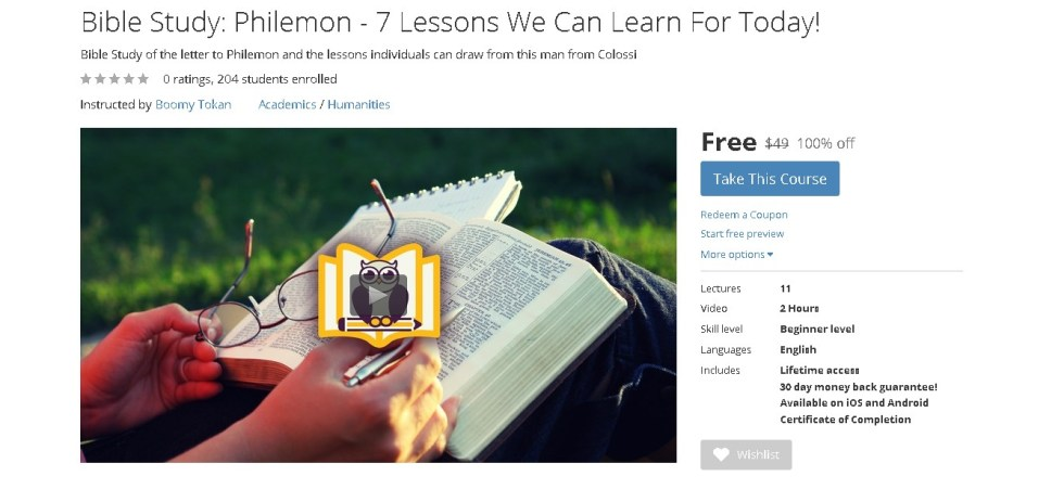 FREE Udemy Course on Bible Study Philemon - 7 Lessons We Can Learn For Today!