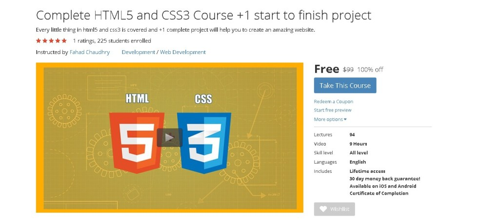 FREE Udemy Course on Complete HTML5 and CSS3 Course +1 start to finish project