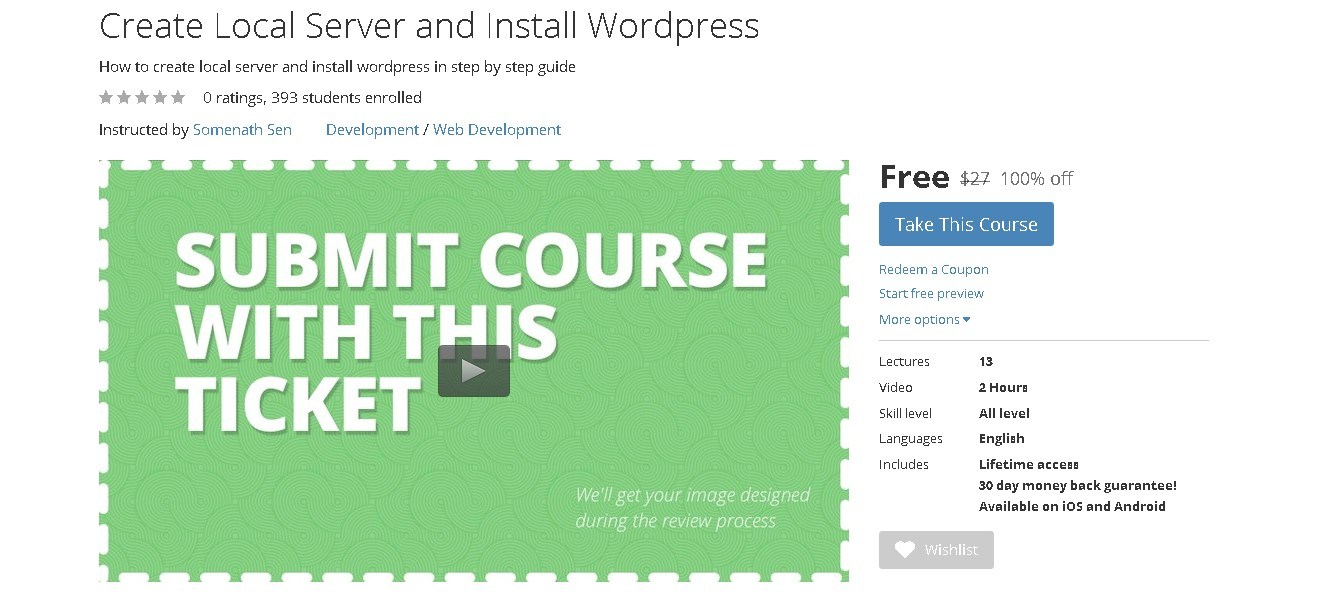 FREE Udemy Course on Create Local Server and Install Wordpress