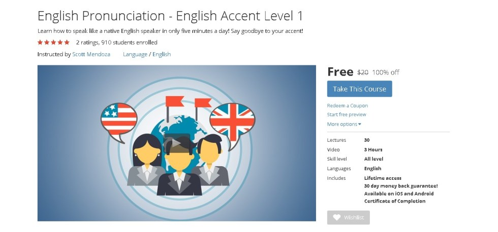 FREE Udemy Course on English Pronunciation - English Accent Level 1