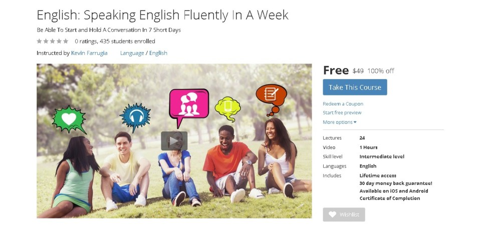 FREE Udemy Course on English Speaking English Fluently In A Week 1
