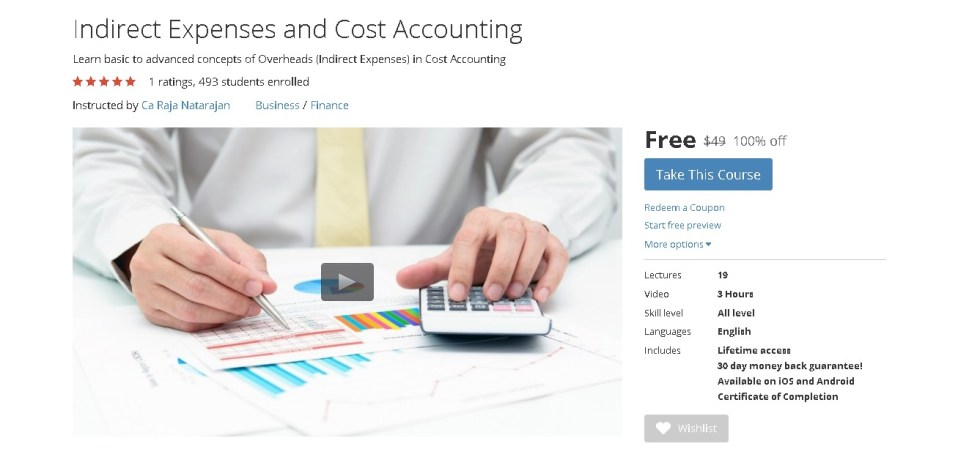 FREE Udemy Course on Indirect Expenses and Cost Accounting