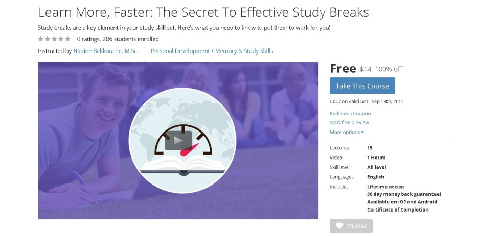 FREE Udemy Course on Learn More, Faster The Secret To Effective Study Breaks