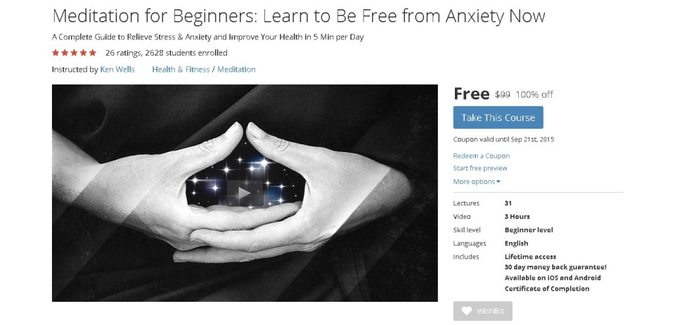 FREE Udemy Course on Meditation for Beginners Learn to Be Free from Anxiety Now 1