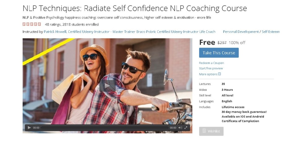 FREE Udemy Course on NLP Techniques Radiate Self Confidence NLP Coaching Course