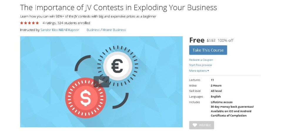 FREE Udemy Course on The Importance of JV Contests in Exploding Your Business