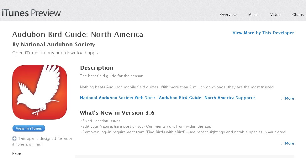 Free App at iTunes Audubon Bird Guide North America 1