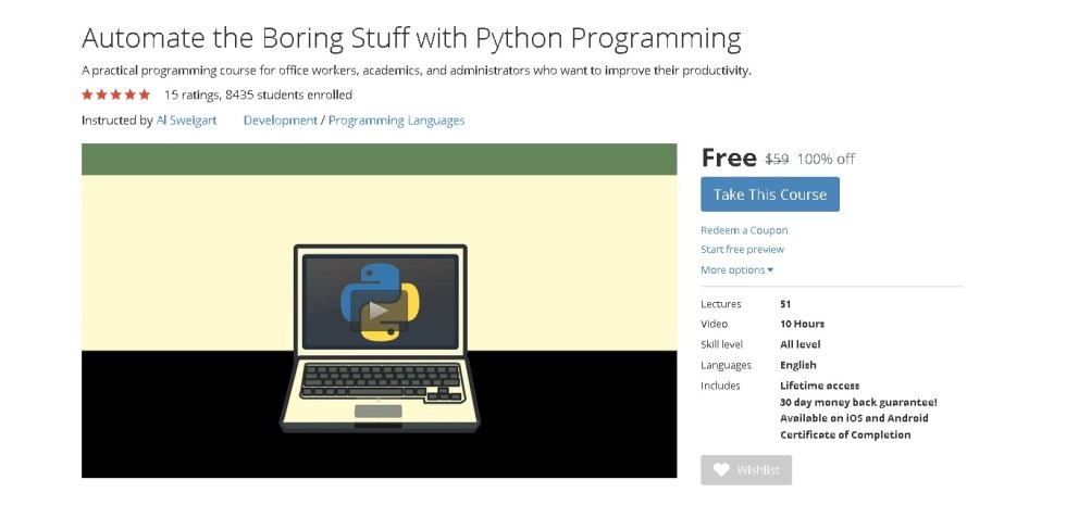 Free Udemy Course on Automate the Boring Stuff with Python Programming