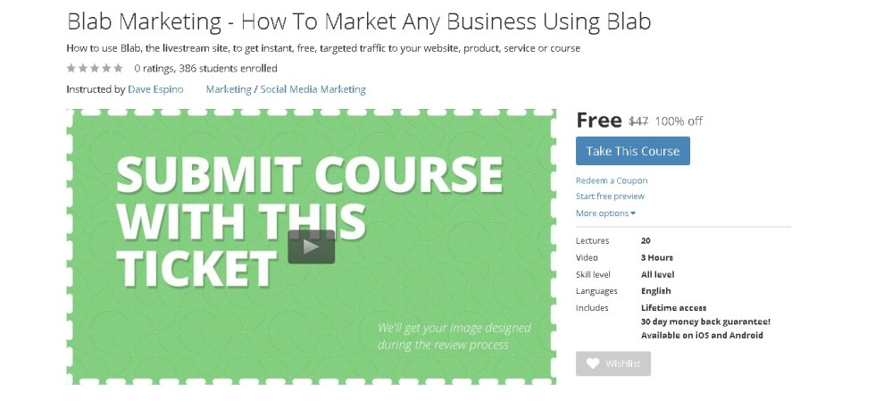 Free Udemy Course on Blab Marketing - How To Market Any Business Using Blab