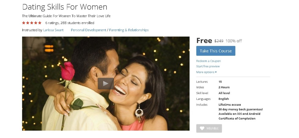 Free Udemy Course on Dating Skills For Women