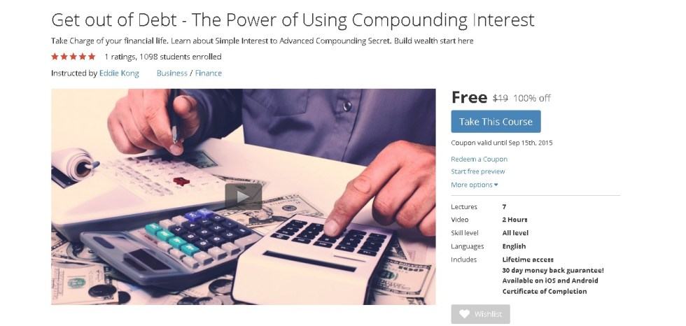 Free Udemy Course on Get out of Debt - The Power of Using Compounding Interest
