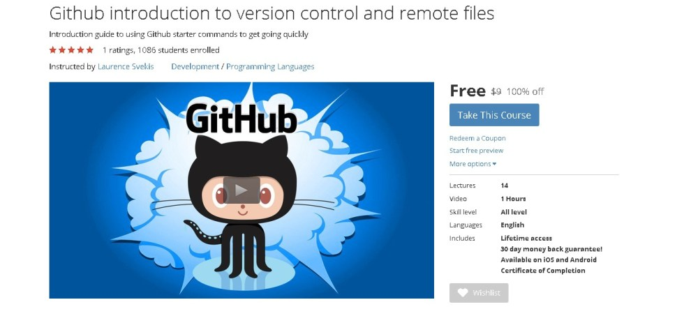 Free Udemy Course on Github introduction to version control and remote files