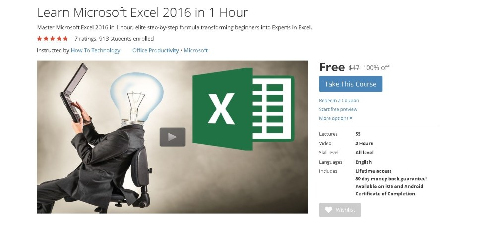 Free Udemy Course on Learn Microsoft Excel 2016 in 1 Hour 1