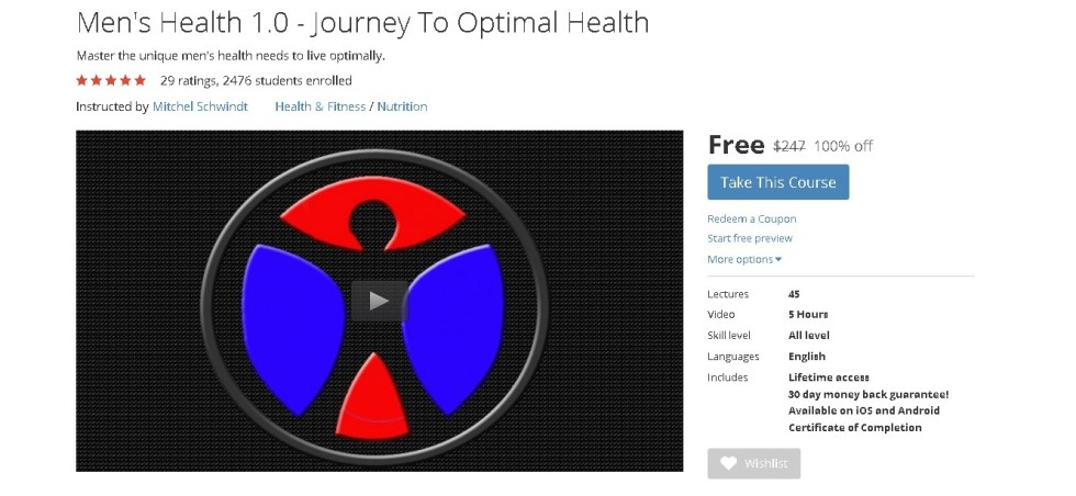 Free Udemy Course on Men's Health 1.0 - Journey To Optimal Health