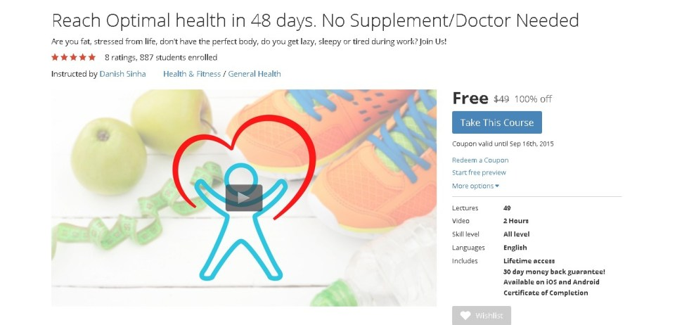 Free Udemy Course on Reach Optimal health in 48 days. No SupplementDoctor Needed