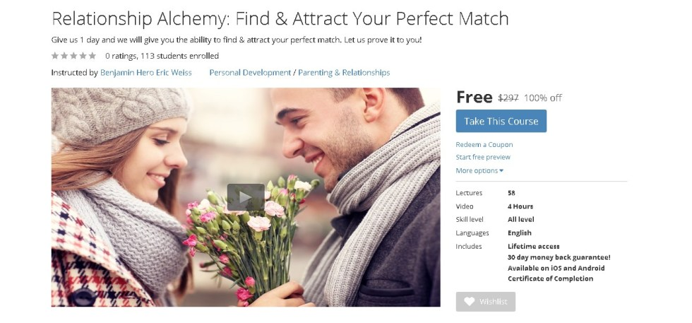Free Udemy Course on Relationship Alchemy Find & Attract Your Perfect Match 1