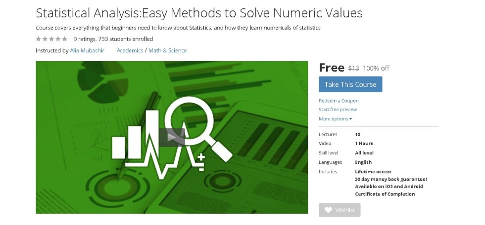 Free Udemy Course on Statistical AnalysisEasy Methods to Solve Numeric Values