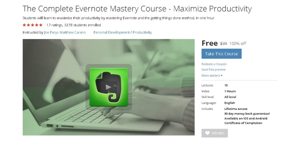 Free Udemy Course on The Complete Evernote Mastery Course - Maximize Productivity  (2)