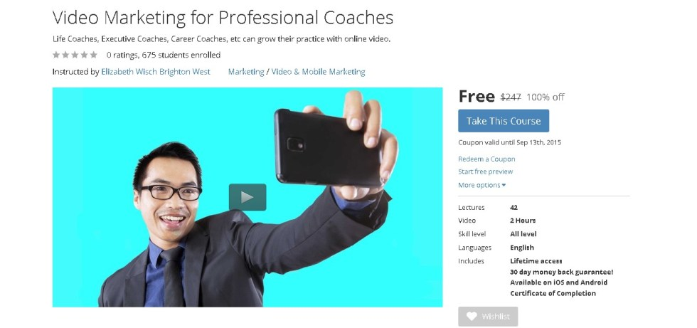 Free Udemy Course on Video Marketing for Professional Coaches