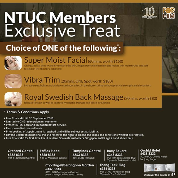 NTUC Membership Treats FREE trial at For Him Men's Spa outlet