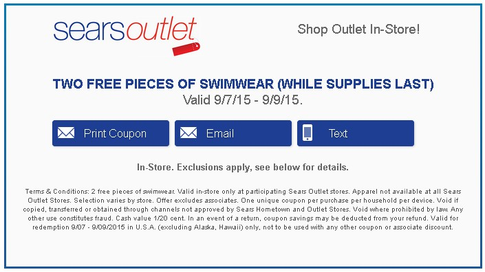 Two FREE PIECES OF SWIMWEAR at Sears Outlet USA