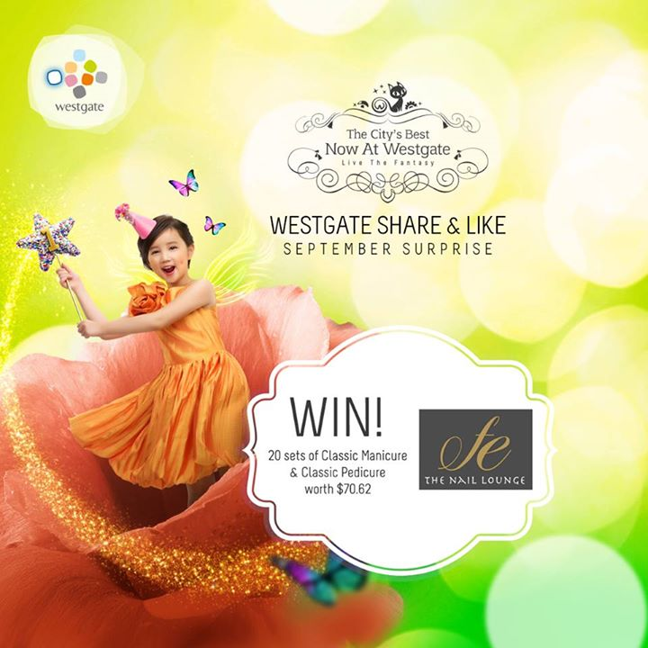 WIN Classic Manicure & Classic Pedicure set each worth $70.62 at Westgate Singapore