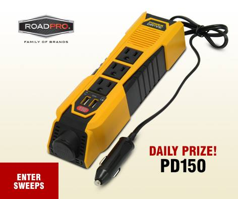 WIN one #PowerDrive 150 W Power Strip every day this week at RoadPro Family of Brands