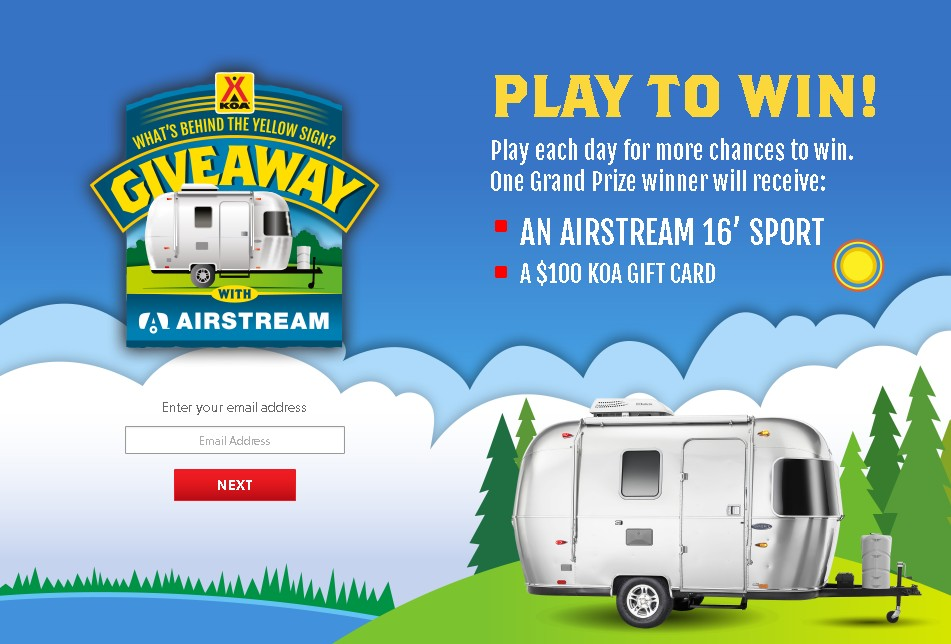What's Behind the Yellow Sign Airstream Giveaway at KOA USA